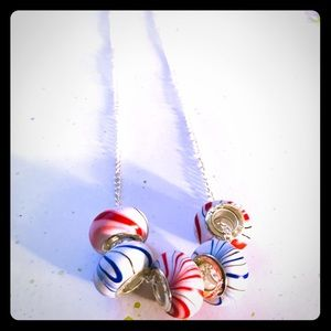 Patriotic 🇱🇷 Red, White, & Blue Marbled Necklace